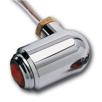 BC-62  Rounded End - Chrome BRITE LITES - Red Lens